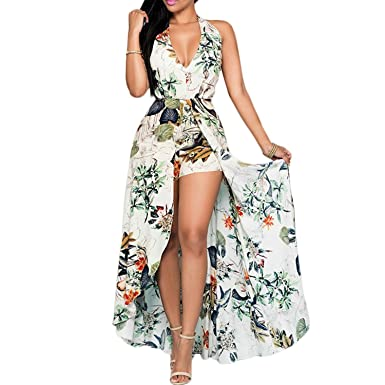 720f84fc641 Image Unavailable. Womens Halter Floral Chiffon Maxi Dress Overlay Rompers Jumpsuit  Playsuit