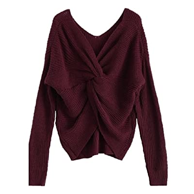 Amordaily Sexy Sweater Casual Pullover Twisted Back V Neck