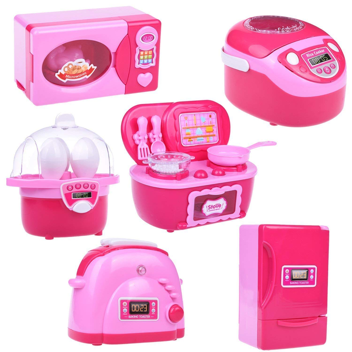 Kitchen Toys for Kids, 6PCs Mini Electric Simulation Play Kitchen Accessories Inculiding Microwave Oven, Toaster, Refrigerator, Rice Cooker, Egg Stepper, Pink Kitchen Appliances for Girls