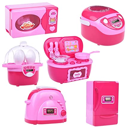 Amazon Com Fun Little Toys Kids Kitchen Set For Girls Play Kitchen