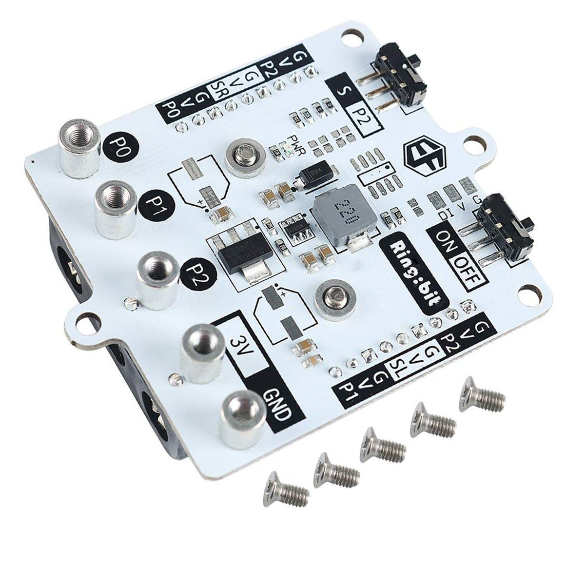 MakerFocus BBC Microbit Extension Board Ring:bit Support 3 PIN GVS Connector Connect Three Servos,Driving All Kinds of GVS Modules Support Bluetooth 4.0 Device for BBC Microbit Board
