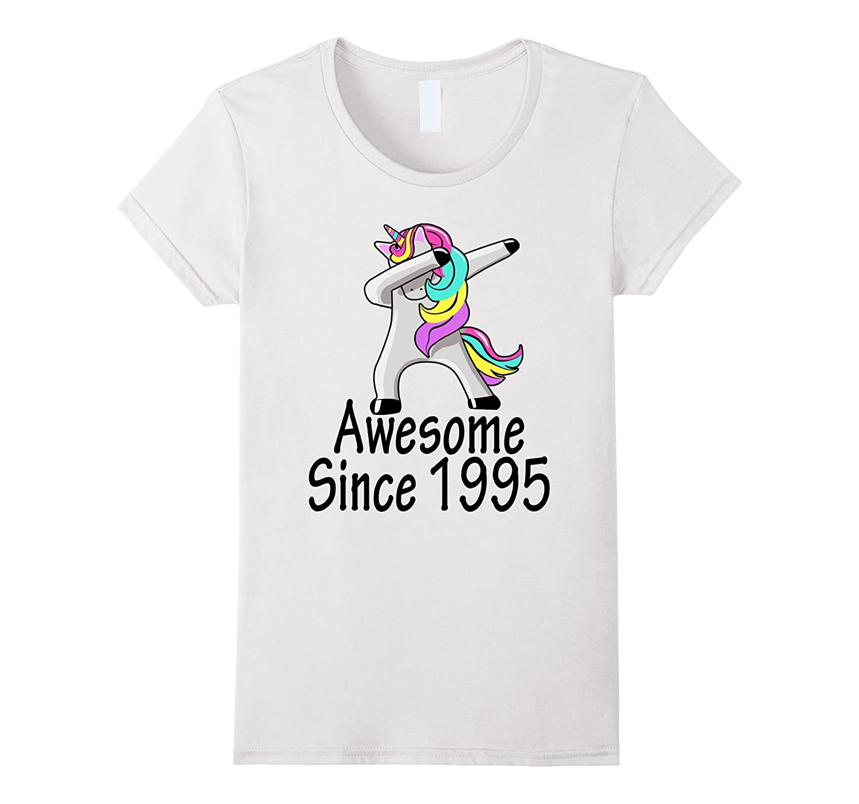 Fun 22 Yrs Old 22nd Birthday Unicorn Shirt Gift 1995 Dabbing