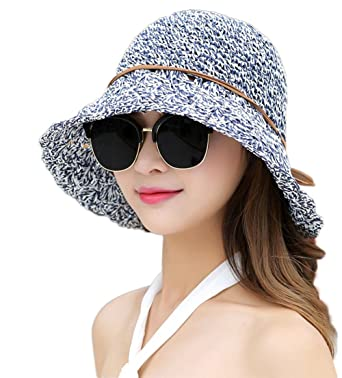 82853908c68 Gespout Women Outdoor Wide Brim Sun Hat Panama Foldable Fedora Cap Beach  Vacation Hat with Flowers in Summer  Amazon.co.uk  Clothing