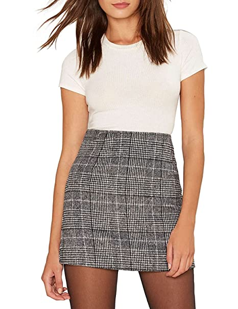 0364855d9295 Haijie Women's High Waist Plaid A-line Mini Bodycon Skirt. at Amazon ...