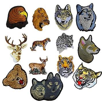 ximkee, León tigre leopardo lobo ciervos animales colección bordado parches Sew hierro en Appliques multicolor: Amazon.es: Hogar