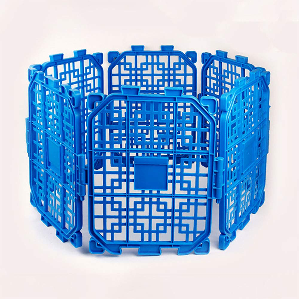 FXQIN Small Animals Plastic Playpen, Expandable Cage Kennel for Bunny Guinea Pig Rabbit Puppy, Indoor & Outdoor, 6 Panels (bluee)