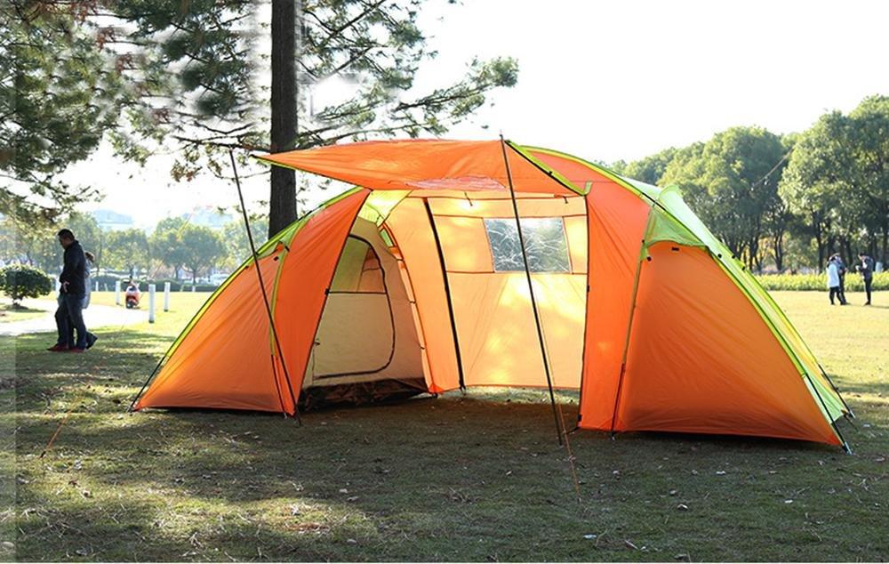 YHKQS-KQS Zelt Sommerurlaub Outdoor Camping Wasserdichte Doppelhaut Übergroßes Familienzelt / Strandzelt Geeignet für 5-7 Personen mit Tragetasche (140 + 200 + 140) x210x200 cm