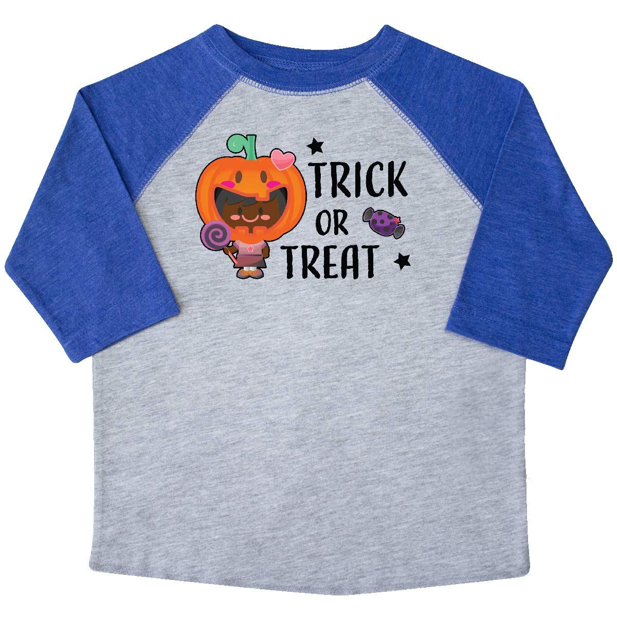 inktastic Trick or Treat Girl with Pumpkin and Black Hair Toddler T-Shirt
