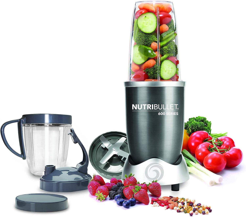 NutriBullet NBR-0928-M Extractor de nutrientes original con recetario en español, base motor de alta capacidad, 600 W, 20000 rpm, incluye varios accesorios, Gris