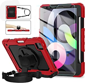 iPad Air 4th Generation Case, iPad Pro 11 Case 2020 & 2018, [Shockproof] ambison Full Body Protective Case with 9H Tempered Glass, Pencil Holder, Rotatable Kickstand & Hand Strap (Red)