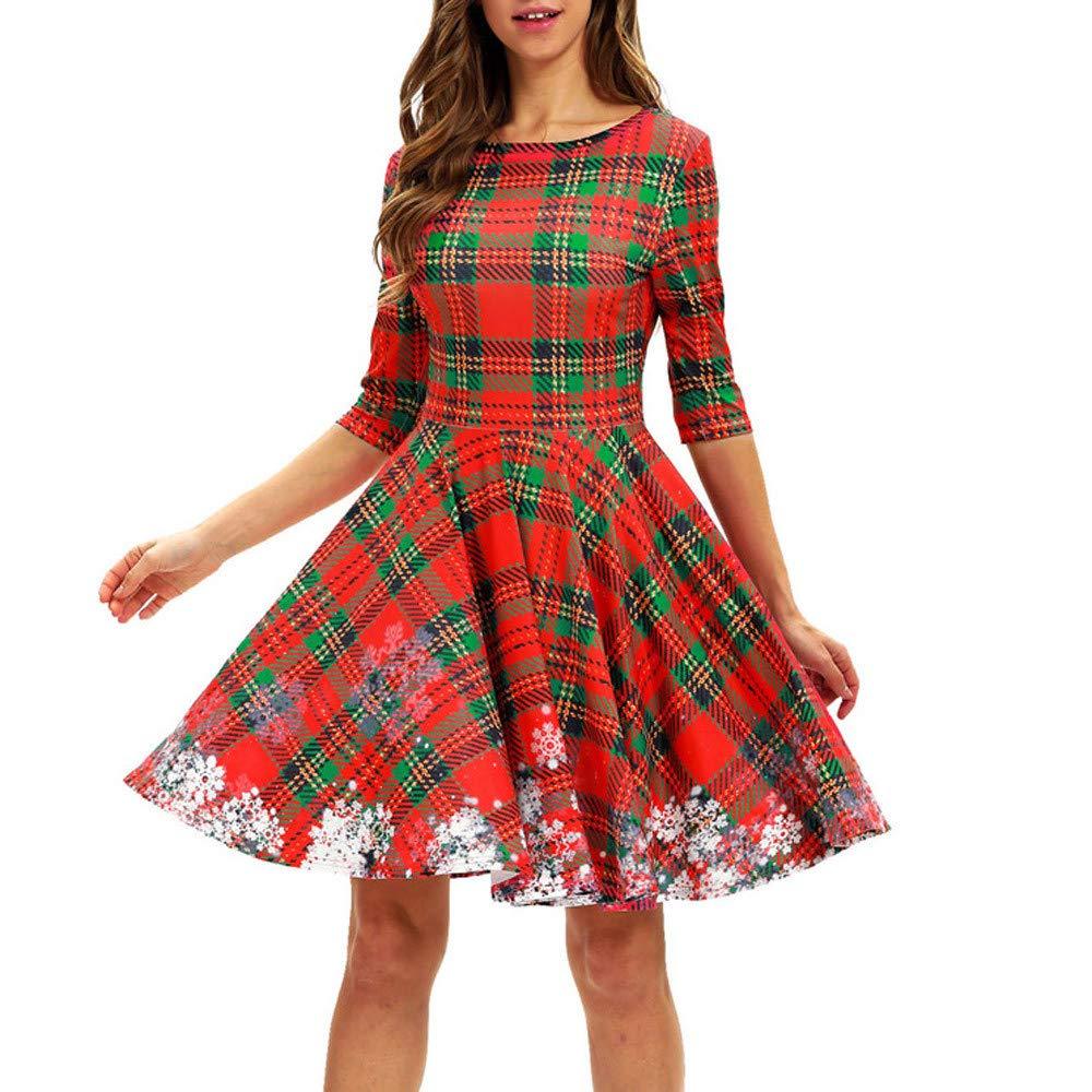 クリスマスシリーズ ドレス-女性用 格子柄 クリスマス 雪の結晶 ハーフスリーブ ハイウエスト プリーツスカート L レッド B07K58KRWN