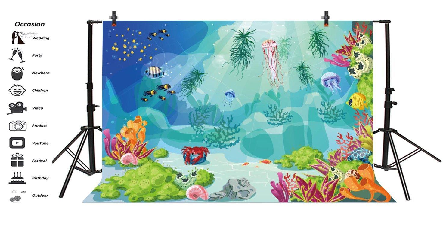 Ieyiyi 7 x 5 pies fondo de fotografía infantil feliz cumpleaños dibujos animados bajo el agua mundo acuario tropical peces cangrejo tortuga roca verano ...