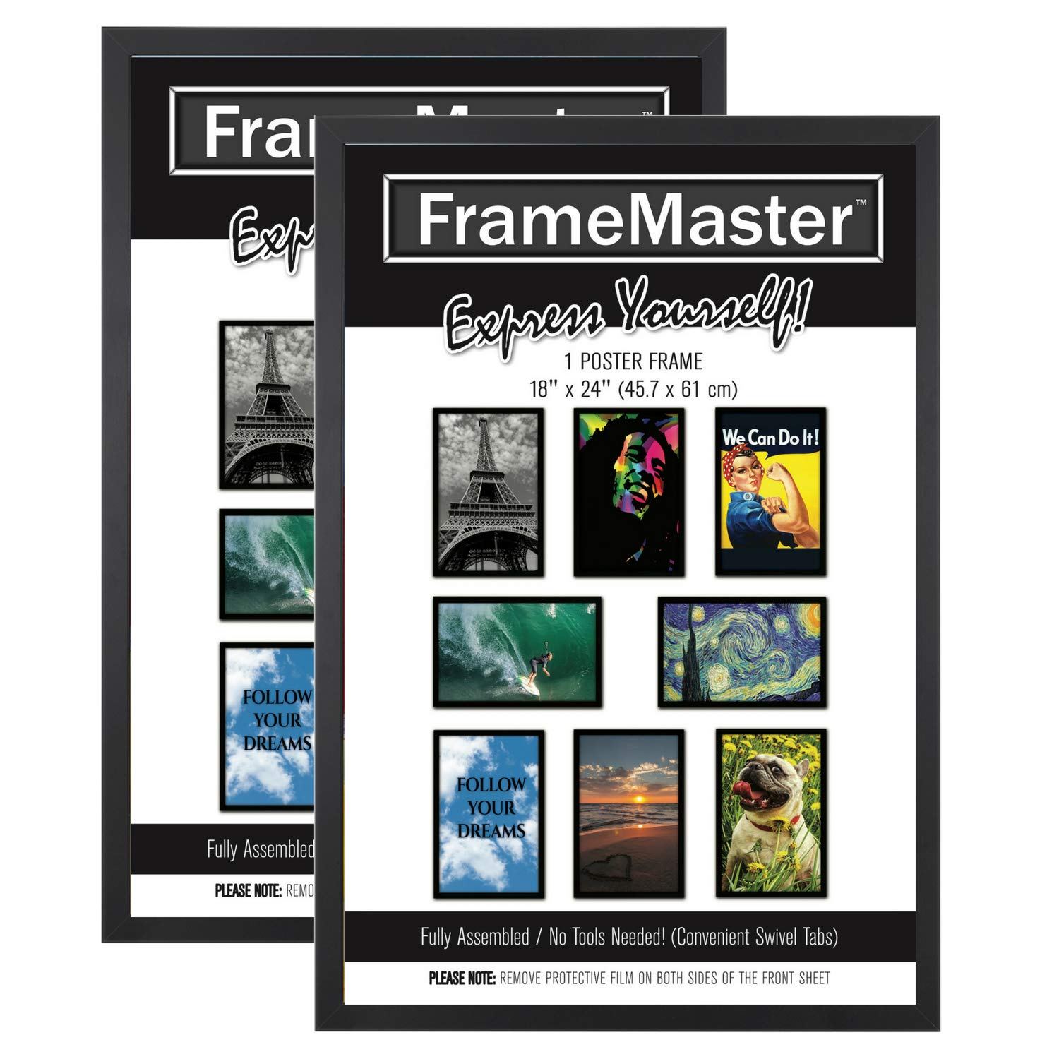 FrameMaster 18x24 Poster Frame (2 Pack), Black Wood Composite, Gallery Edition