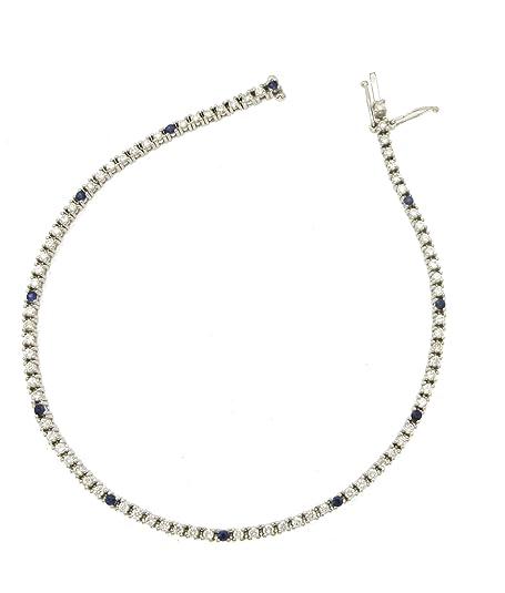 f7367b581629 Pulsera tenis de hombre de oro blanco 750 18 Kt con diamantes y zafiro -  N262  Amazon.es  Joyería