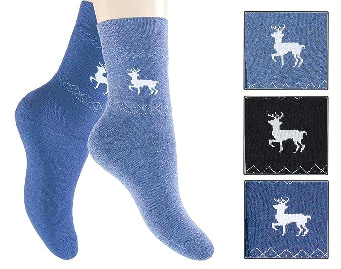Footstar 3 Pack – Completo de rizo térmica de calcetines sin goma Marine/jeansblau/