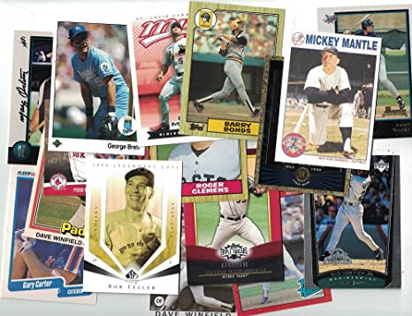 Amazon Com 100 Baseball Cards Collection Newer Vintage Trading Cards Collection With Secure Packing Hall Of Famers Rookies Inserts Numbered Refractor Each Pack Is Unique Best