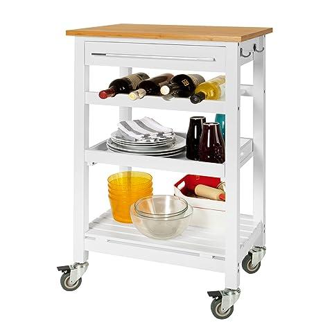 SoBuy® Carrito de servir, estantería de cocina, carrito de cocina móvil, FKW16