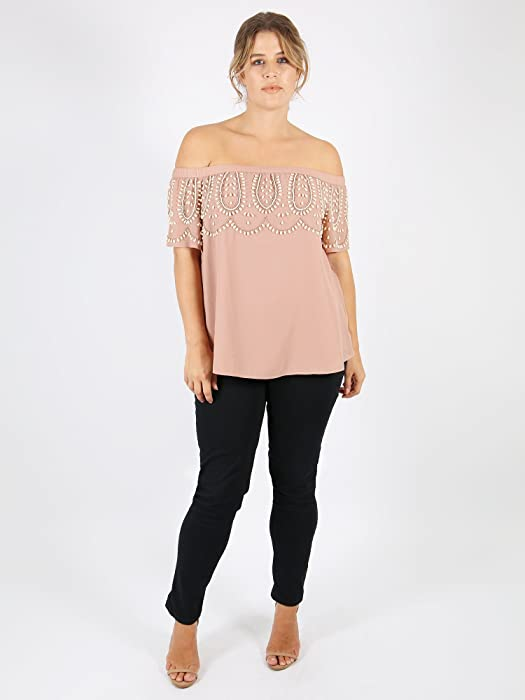 42ef5ee2afe Lovedrobe Luxe. Womens Plus Size Mauve Embellished Bardot top. Back.  Double-tap to zoom