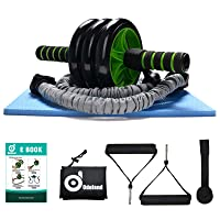 Odoland 3-In-1 AB Wheel Roller Kit AB Roller Pro with Resistant Band,Knee Pad,Anti-Slip Handles,Storage Bag and Training Program - Perfect Abdominal Core Carver Fitness Workout for Abs