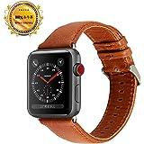Apple Watch バンド,革 ビジネス風 アップルウォッチバンド ベルトレザー ストラップ Apple Watch Series 1/2/3 ビジネススタイルレザー製 (38mm, 褐色)