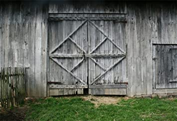 Laeacco 7x5FT Vinyl Backdrop Old Barn Doors Photography Background Rustic Wooden House Wall Front Door Fence