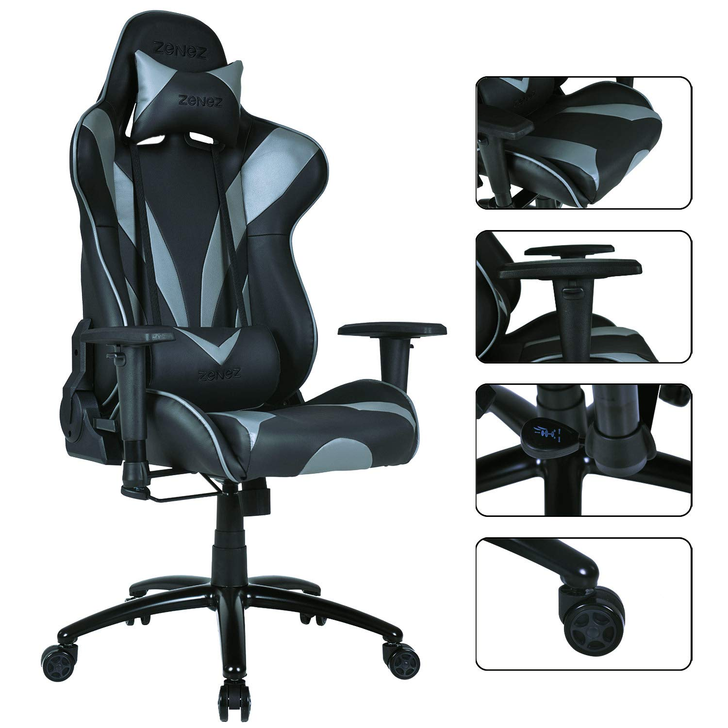 ZENEZ Gaming Chair Office Chair High Back Computer Chair Racing Ergonomic Backrest and Seat Height Adjustable Recliner Swivel Rocker with Headrest and Lumbar Pillow Large Size Black