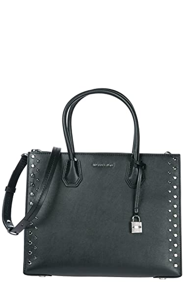 1f5e4ad89ae3 Michael Kors Mercer Stud Grommet Large Convertible Leather Tote in Black