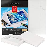Arteza Acrylic Paper Foldable Pad, 5x6.6 Inches, 20 Sheets, DIY Frame, Heavyweight Acrylic Paint Paper, 220 lb, 360 GSM, Acid-Free, Wood Pulp Pad for Painting & Mixed Media Art