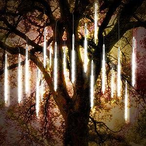 Vikdio Meteor Shower Rain Lights 30cm 10 Spiral Tubes 300 LEDs Waterproof Icicle Snow Falling String Lights for Wedding Christmas Garden Tree Home Decor, Support 2 Sets Hook Together (White)