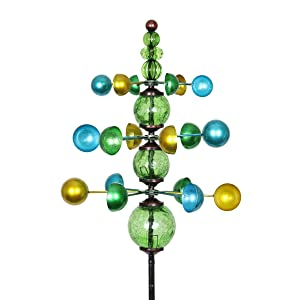 "Exhart Colorful Helix Yard Mobile, Three-Tier Vertical Wind Spinners with Green Glass Crackle Balls Garden Stake – Green, Blue & Yellow Garden Spinners - Kinetic Art Decor, 11.5"" L by 48"" W Inches"