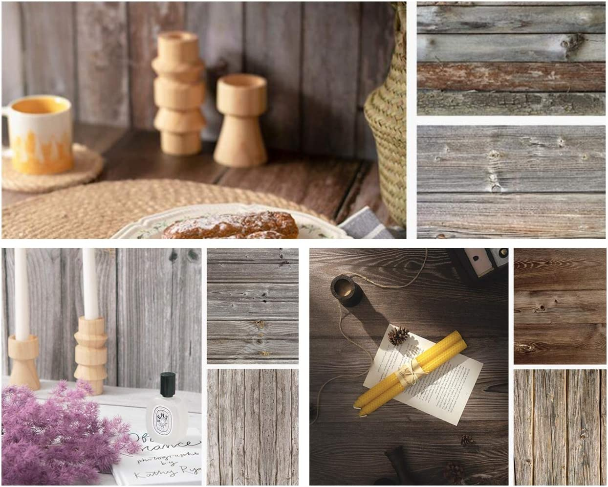 BEIYANG 3PCS 22x35 Inch 2 in 1 Photography Backdrops, Retro Vintage Wood Texture Waterproof Background Paper Tabletop Backdrop Food Jewelry Cosmetics Makeup Professional Photo Shoot