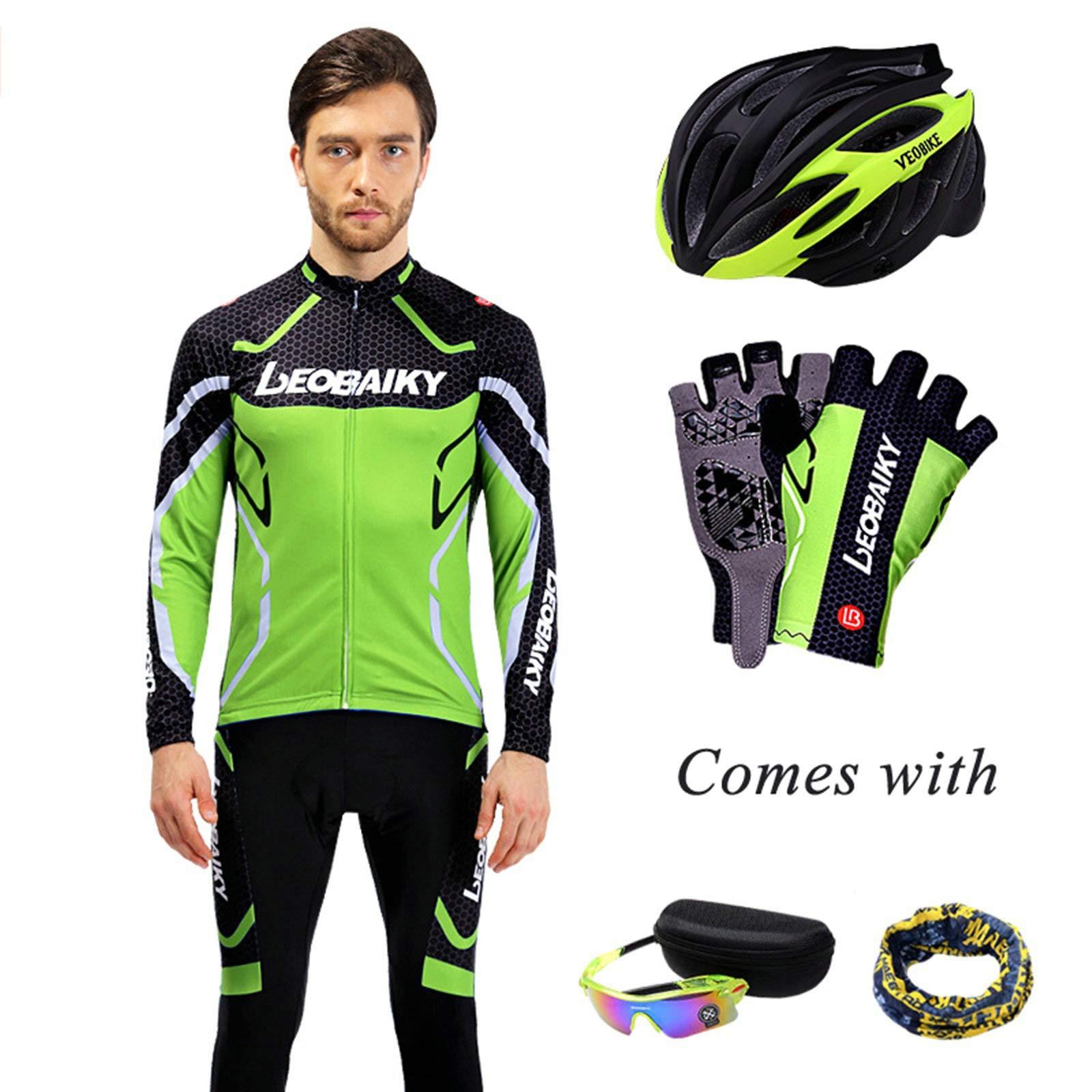 Aooaz Men's Biking Clothing Set Shirt Leggings with Helmet/Gloves/Goggles/Mask Green S