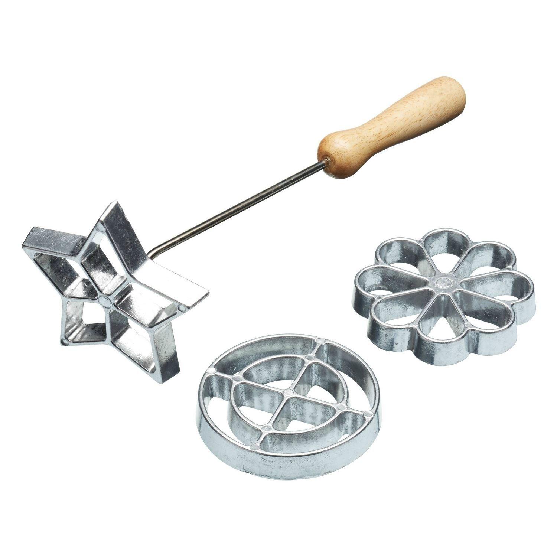 Swedish Rosette Iron Set - with 3 Moulds - 7.5cm Flower, 7.5cm Circle, 8cm Star Kitchen Craft
