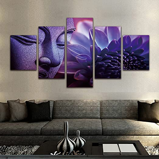 Purple Buddha Paintings 5 Pieces Canvas Art Wall Decor Prints
