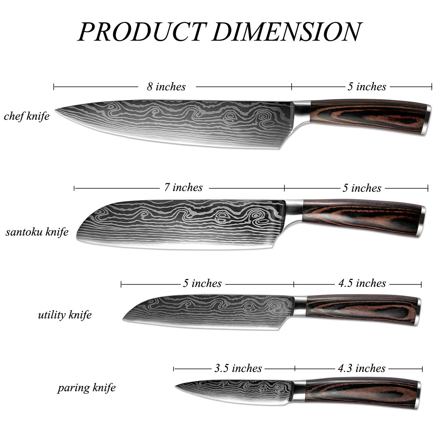 XITUO Kitchen Knives Set, 4pcs High Carbon Stainless Steel Chef Knife Set - Chef Knife, Santoku Knife, Utility Knife, Paring Knife with Razor Sharp Blade and Ergonomic Handle by XITUO (Image #2)