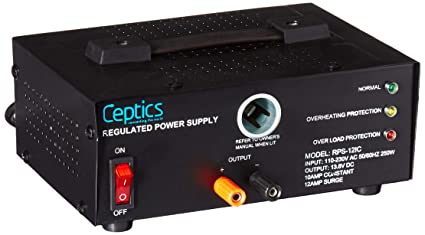 Ceptics RPS-12IC 10 Amp 13 8-Volt Power Supply with Cigarette Lighter Input