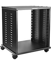 Neewer 12U Universal Equipment Rack Stand Open Frame with 4 Casters Black Finished, Perfect for Audio Video Equipment Storage