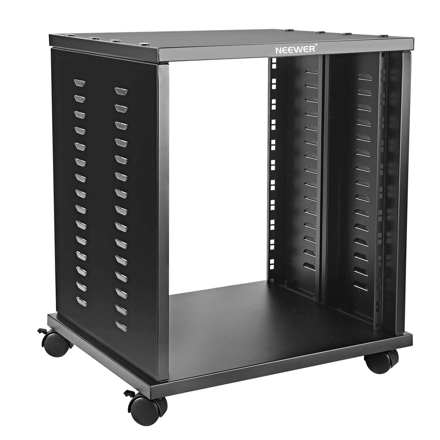 Neewer 12U Universal Equipment Rack Stand Open Frame with 4 Casters Black Finished, Perfect for Audio Video Equipment Storage 40089763