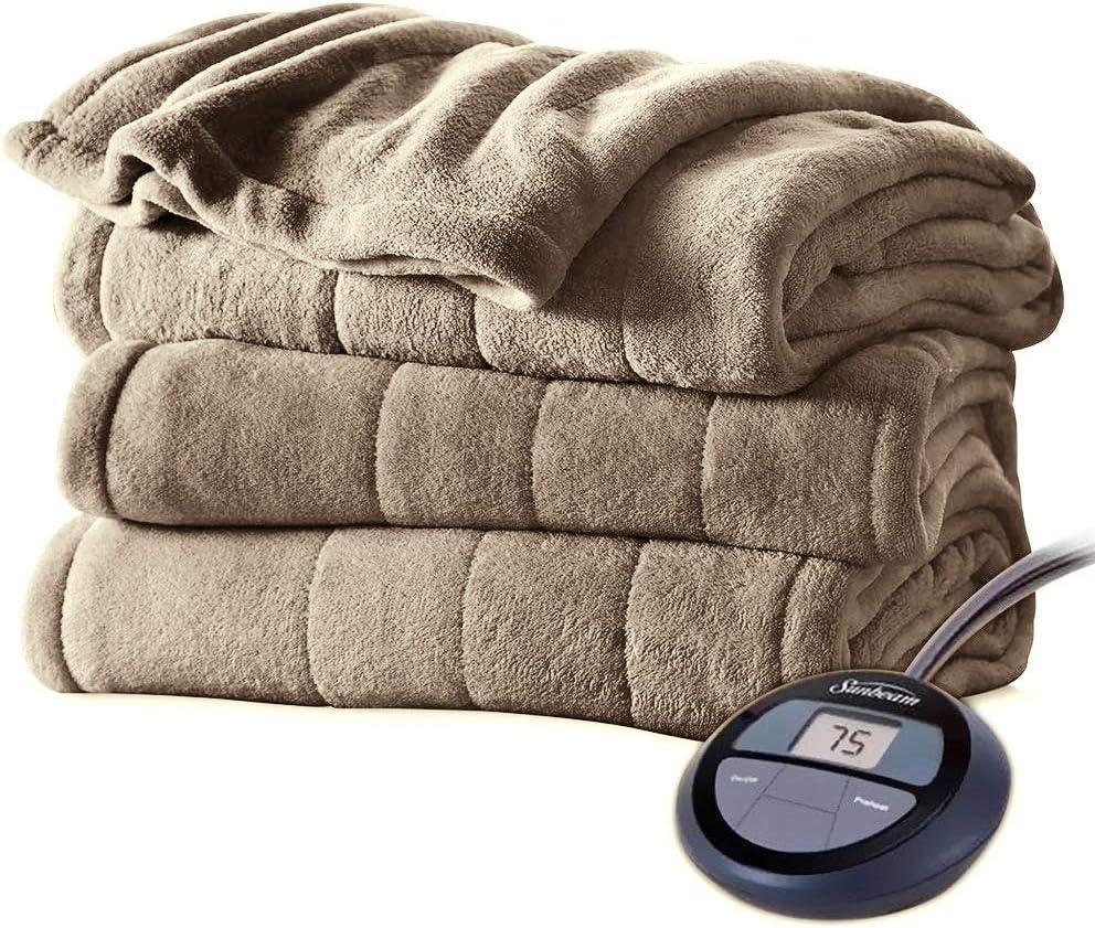 Sunbeam Channeled Velvet Plush Electric Heated Blanket Twin Acorn