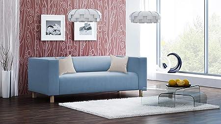 Sofa Couch 3 Sitzer Polstersofa Webstoff Blau Hellblau