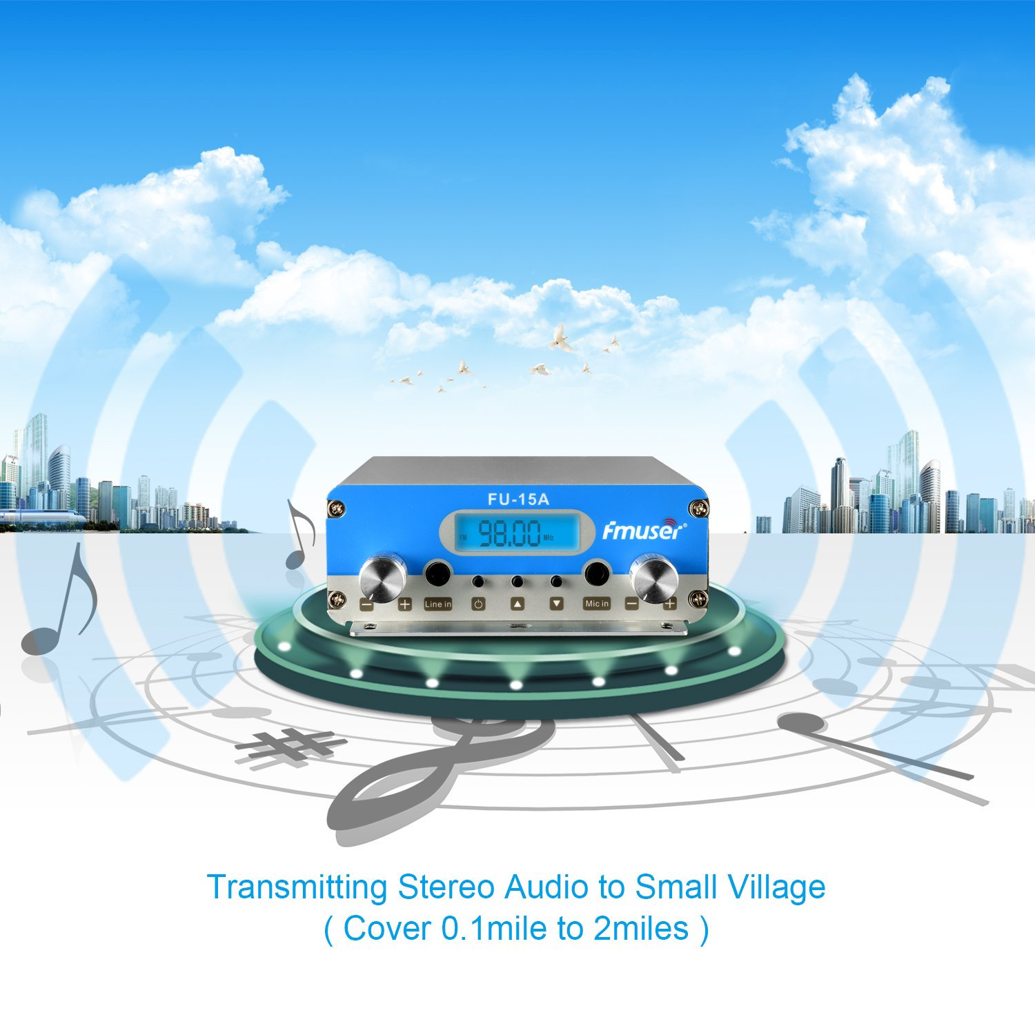 T15b 5w/15w Output Power Transmitter Fm Stereo Audio Broadcasting For Personal Broadcasting Radio & Tv Broadcast Equipments