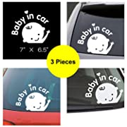 Fanco Electronics Baby in Car Stickers Decals Waterproof Reflective Material Self Adhesive Baby Car Stickers Last for 6 Yr- Pack of 3