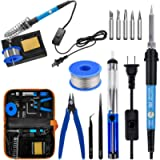 Soldering Iron Kit Electronics, 60W Soldering Welding Iron Tools with ON-Off Switch, 5pcs Soldering Iron Tips, Solder…