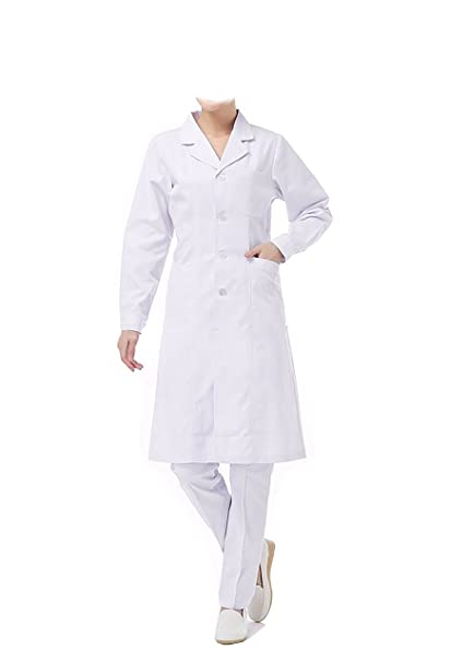 WDF Bata de Laboratorio médicos Bata Uniforme de Trabajo Enfermera Blanco Mujer Manga Larga Largo párrafo