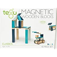 Tegu Magnetic Wooden Block Set, Blues, 42 Piece