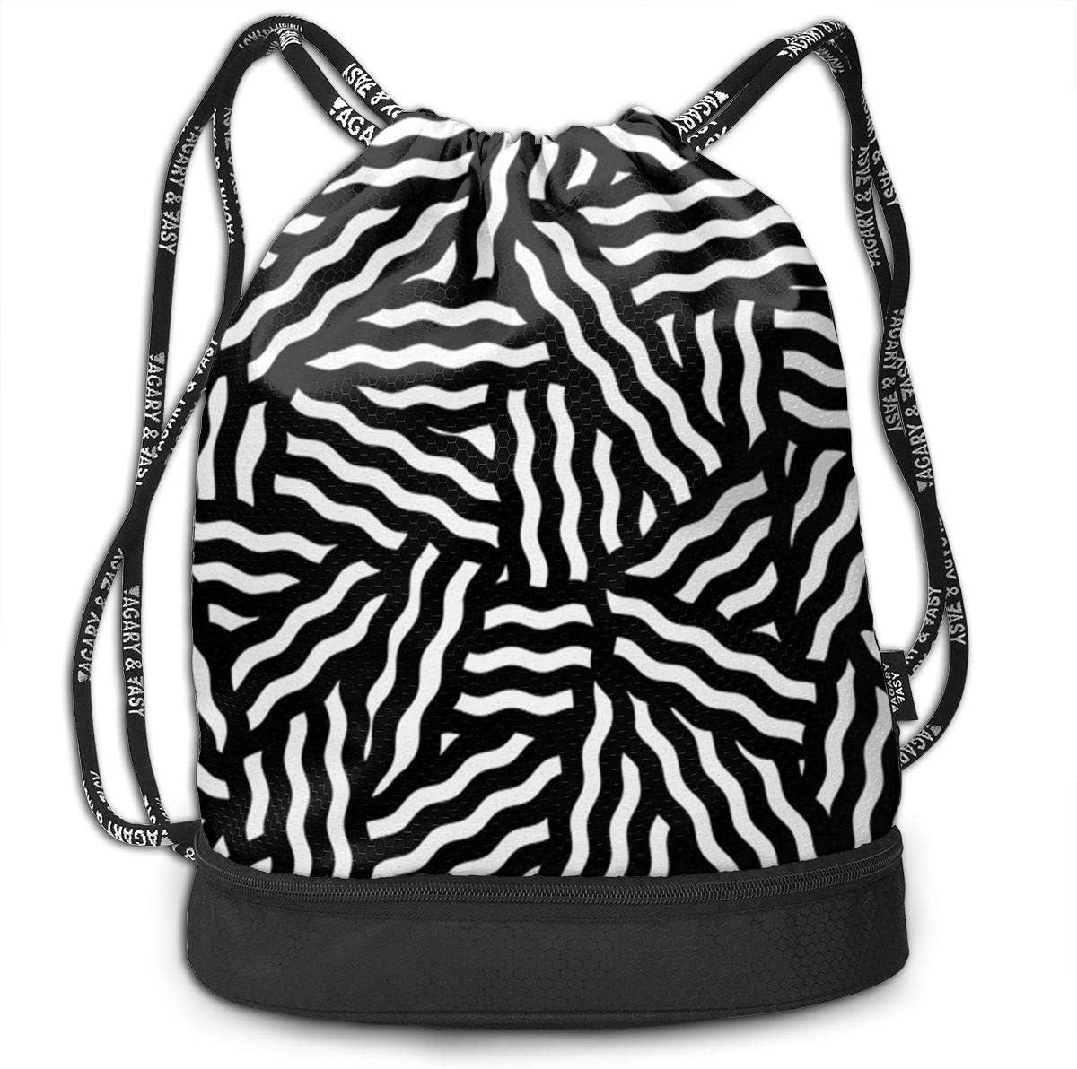 HUOPR5Q Wave Line Drawstring Backpack Sport Gym Sack Shoulder Bulk Bag Dance Bag for School Travel