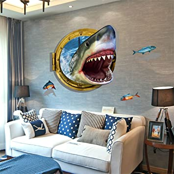 Bonlting DIY Removable 3d Cartoon Animation Fierce Shark Art Mural Vinyl  Waterproof Wall Stickers Living Room