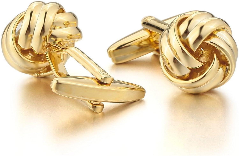 Knot Gold Plated Men Unisex Wedding Gift Wedding Business Cufflink 1 Pair (2pcs)