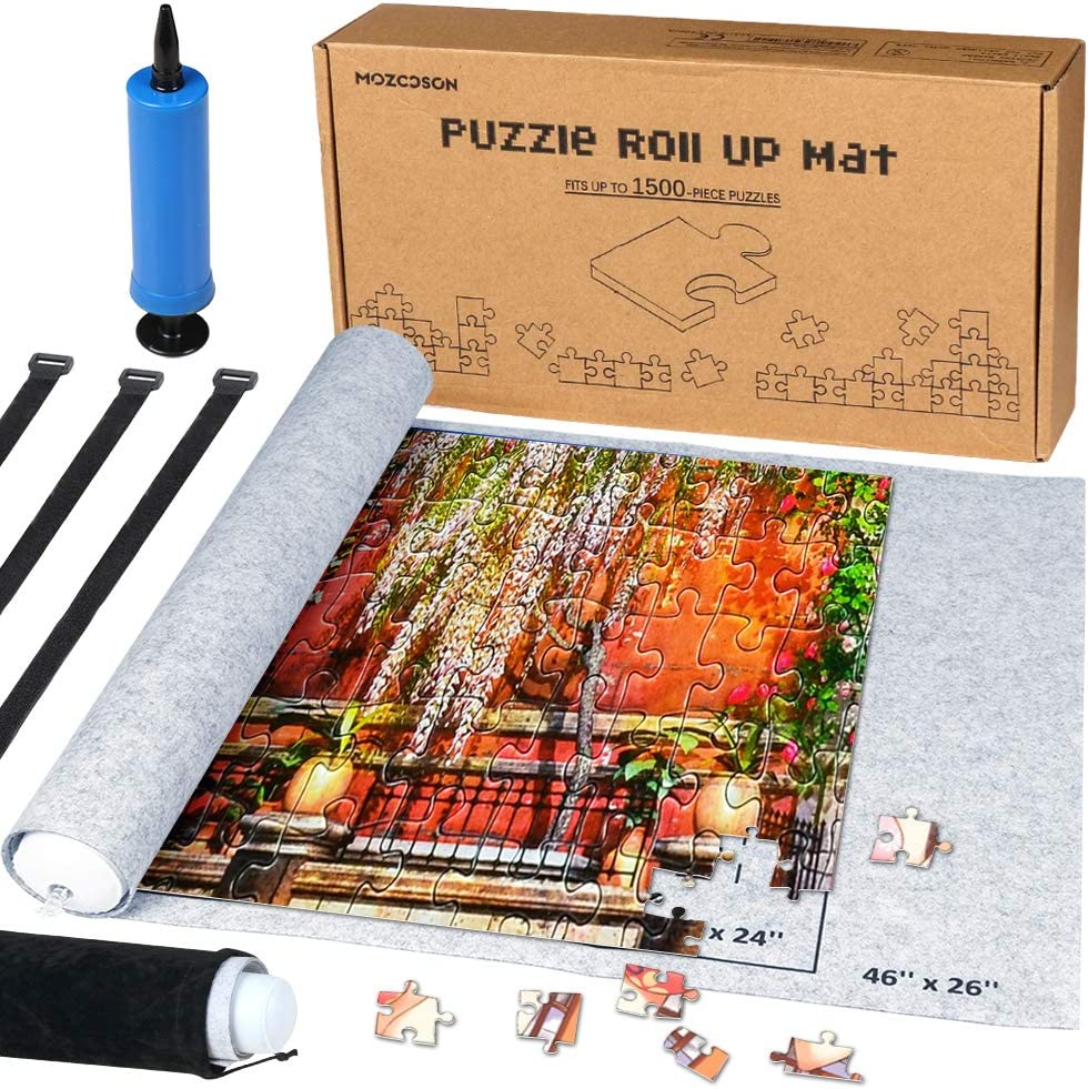 Puzzle Mat Roll Up for Jigsaw Puzzles Upto 1500 Pcs, Jigsaw Puzzles Roll Up Mat with Inflatable Tube+Mini Pump+Felt Mat+3 Elastic Fasteners+Drawstring Storage Bag, Holds 300 500 700 1000 1500 Pieces