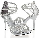 V-Luxury Womens 44-EYDIE82 Open Toe High Heel Stiletto Pump Sandals, Silver PU Leather